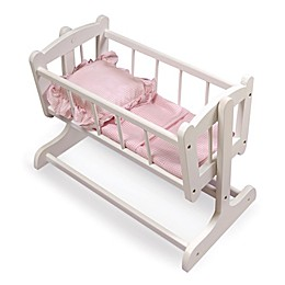 Heirloom Style Doll Cradle with Bedding with Hood in White