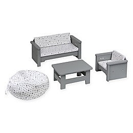 Badger Basket Doll Living Room Furniture Set in Grey