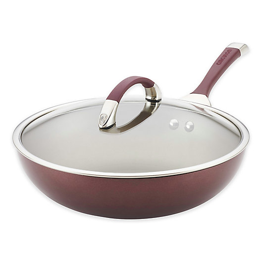Alternate image 1 for Circulon® Symmetry™ Nonstick 12-Inch Hard-Anodized Covered Essential Pan in Merlot