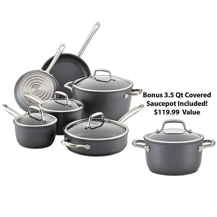 Alternate image 1 for Anolon® Accolade Nonstick Hard-Anodized 10-Piece Cookware Set in Moonstone