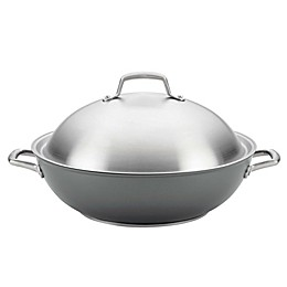Anolon® Accolade Nonstick Hard Anodized 13.5-Inch Covered Wok in Moonstone