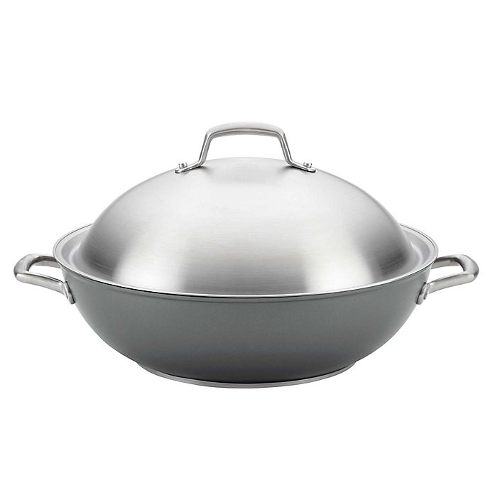 Alternate image 1 for Anolon® Accolade Nonstick Hard Anodized 13.5-Inch Covered Wok in Moonstone