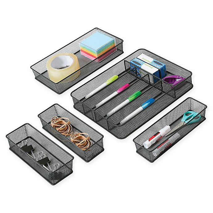 Alternate image 1 for Seville Classics 5-Piece Mesh Drawer Organizer
