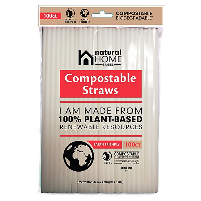 Alternate image 1 for Natural Home Brands& reg; Compostable Straws in Frost (Pack of 100)
