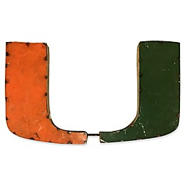 """University of Miami """"U"""" Recycled Metal Wall Décor in Green/Orange"""