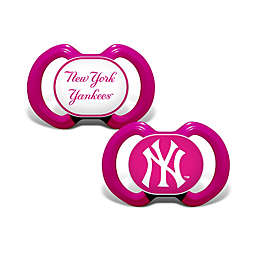 MLB New York Yankees 2-Pack Team Logo Pacifiers in Pink