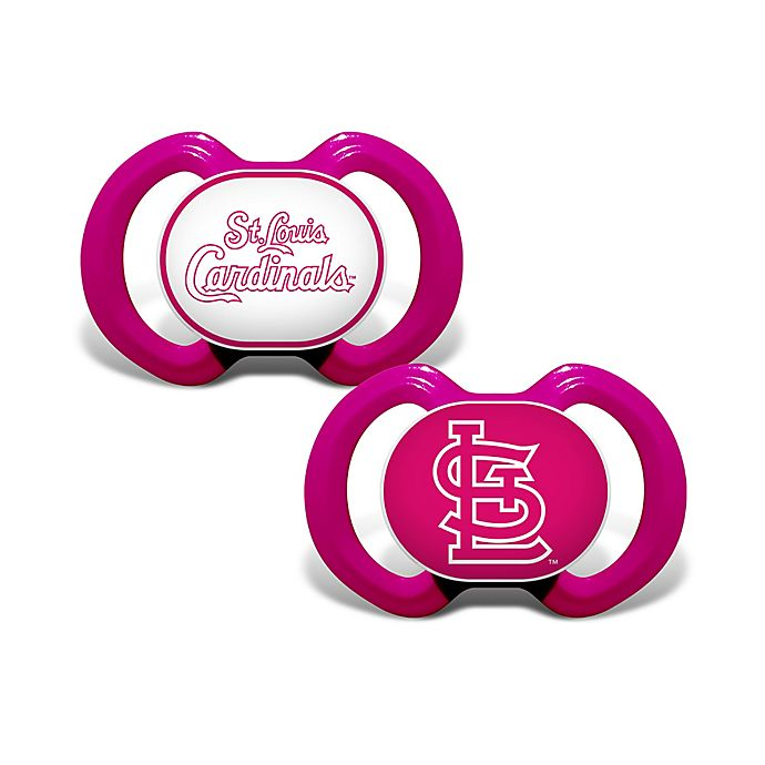 Alternate image 1 for MLB St. Louis Cardinals 2-Pack Team Logo Pacifiers in Pink