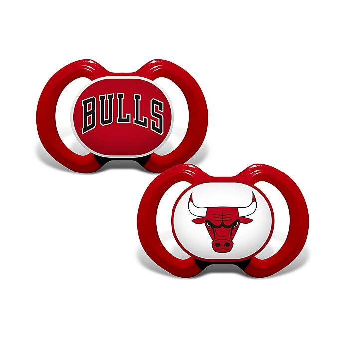 Alternate image 1 for Baby Fanatic® NBA Chicago Bulls 2-Pack Pacifiers