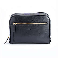 ROYCE New York Pebbled Leather Toiletry Bag with Exterior Zip Pocket in Black