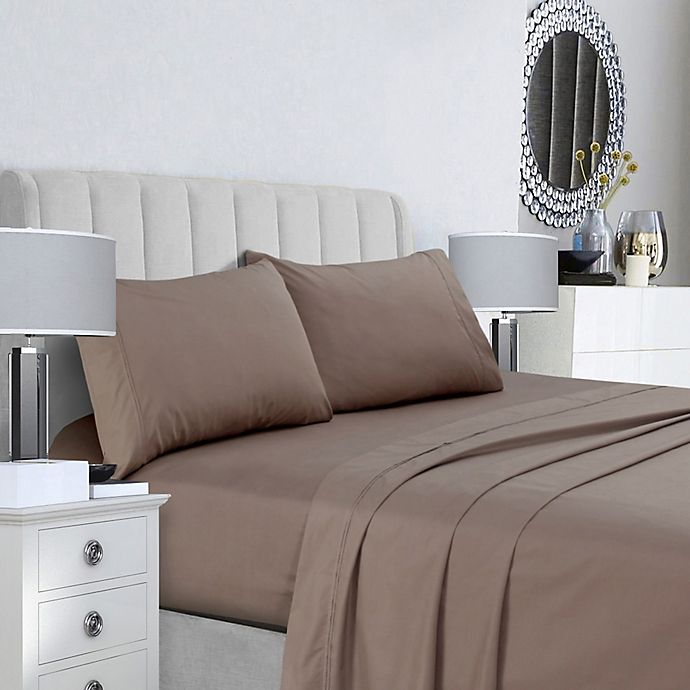 Alternate image 1 for Tribeca Living 400-Thread-Count Double-Pleat Hem King Sheet Set in Taupe