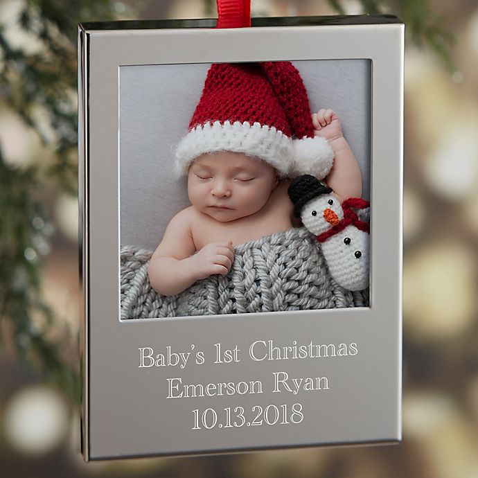 Alternate image 1 for Precious Baby Engraved Picture Frame Christmas Ornament