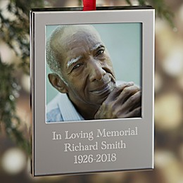 Memorial Engraved Picture Frame Christmas Ornament