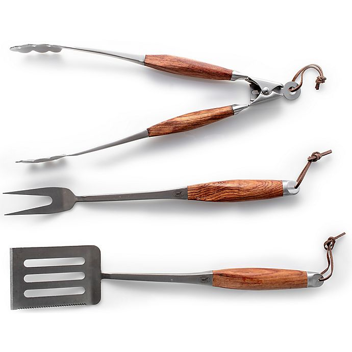 Alternate image 1 for Stainless Steel/Wood 3-Piece BBQ Tool Set