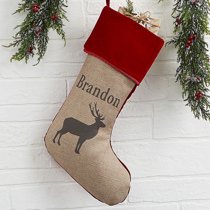 Alternate image 1 for Outdoorsmen Personalized Christmas Stocking in Burgundy