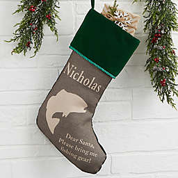 Outdoorsmen Personalized Christmas Stocking in Green
