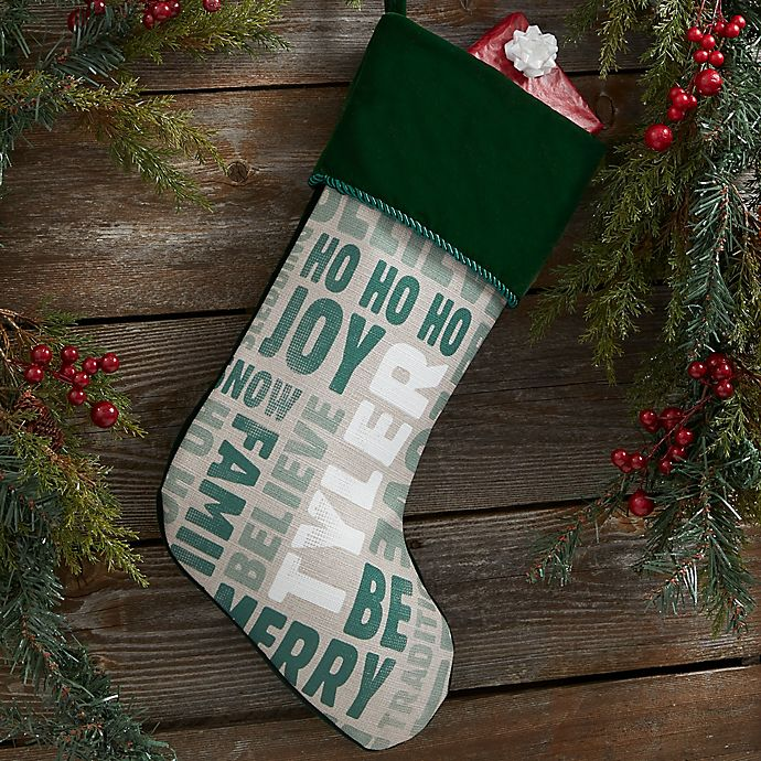 Alternate image 1 for Holiday Celebration Personalized Christmas Stocking in Green