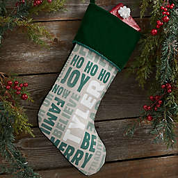 Holiday Celebration Personalized Christmas Stocking in Green