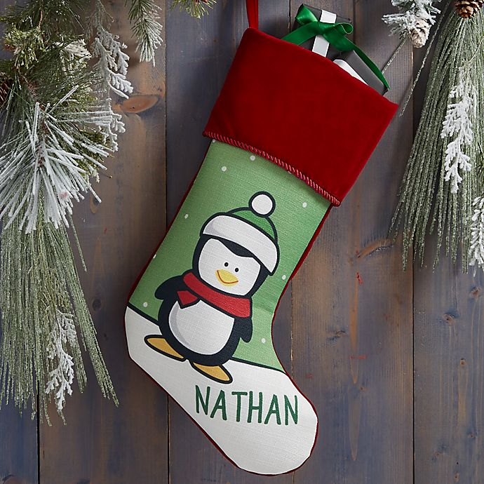 Alternate image 1 for Penguin Characters Personalized Christmas Stocking