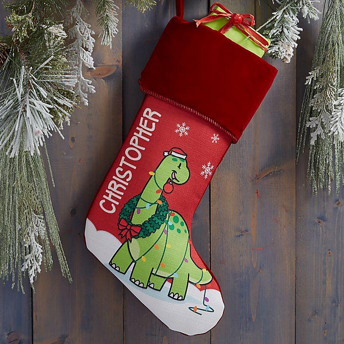 Alternate image 1 for Dinosaur Personalized Christmas Stocking