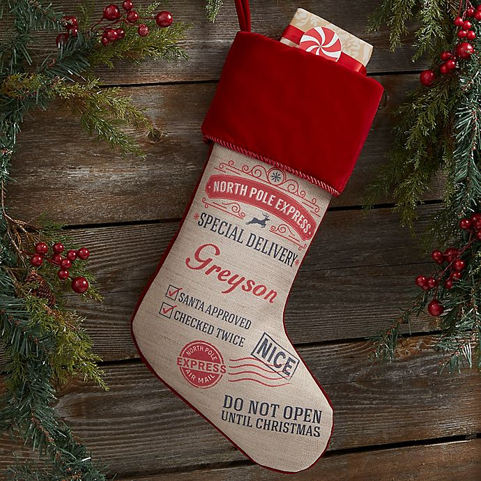 Alternate image 1 for Special Delivery From Santa Personalized Christmas Stocking