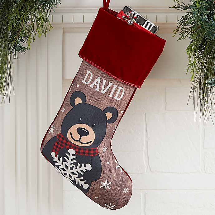 Alternate image 1 for Holiday Bear Family Personalized Christmas Stocking