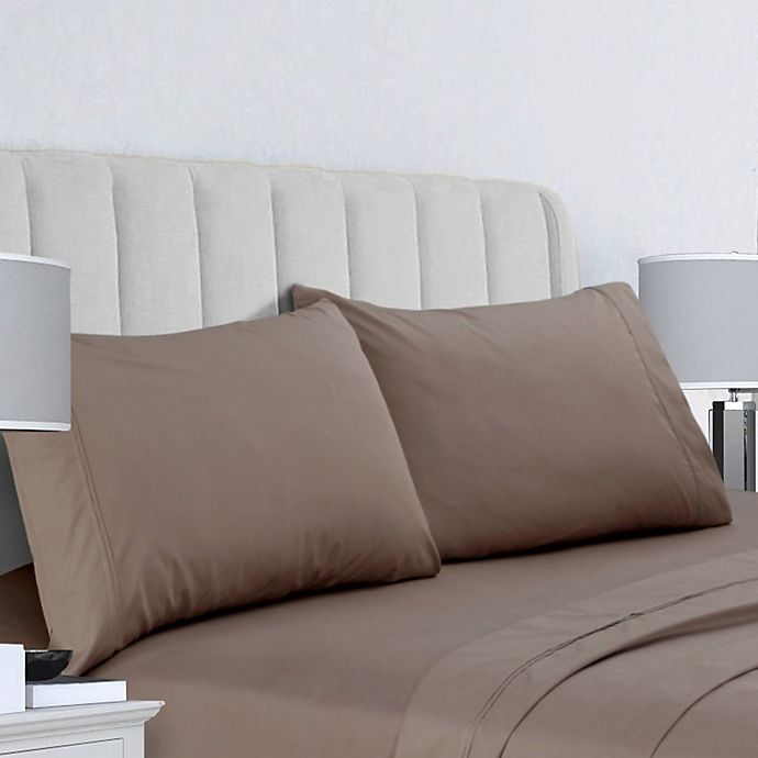 Alternate image 1 for Tribeca Living 400-Thread-Count Double-Pleat Hem King Pillowcases in Taupe (Set of 2)