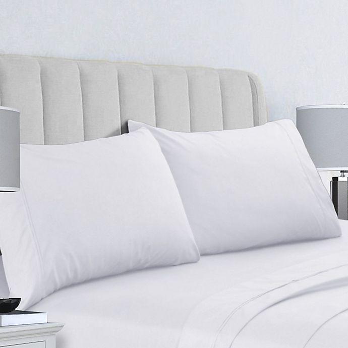 Alternate image 1 for Tribeca Living 400-Thread-Count Double-Pleat Hem King Pillowcases in White (Set of 2)