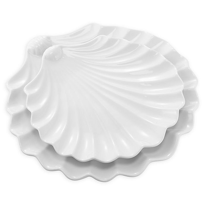 Alternate image 1 for Over & Back® Seashell 2-Piece Serving Dishes in White