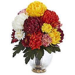 Nearly Natural 15-Inch Artificial Mum Arrangement in Vase