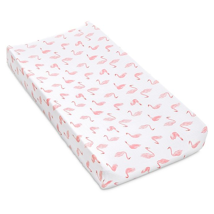 Alternate image 1 for aden + anais™ essentials Swan Changing Pad Cover in Pink
