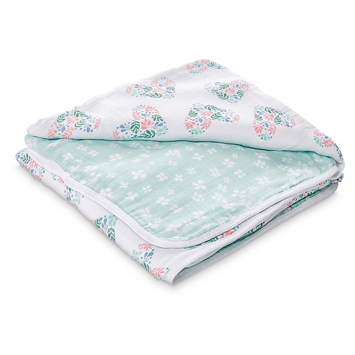 Alternate image 1 for aden + anais™ essentials Floral Rose Muslin Receiving Blanket