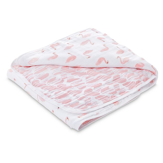 Alternate image 1 for aden® by aden + anais® Swans Muslin Receiving Blanket in Pink