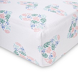 aden® by aden + anais® Floral Heart Crib Sheet in Blue