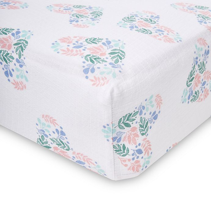 Alternate image 1 for aden + anais™ essentials Floral Heart Crib Sheet in Blue