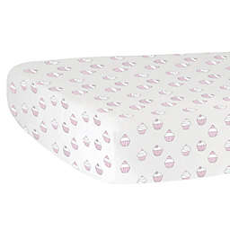 Hello Spud Cupcakes Fitted Crib Sheet in Pink