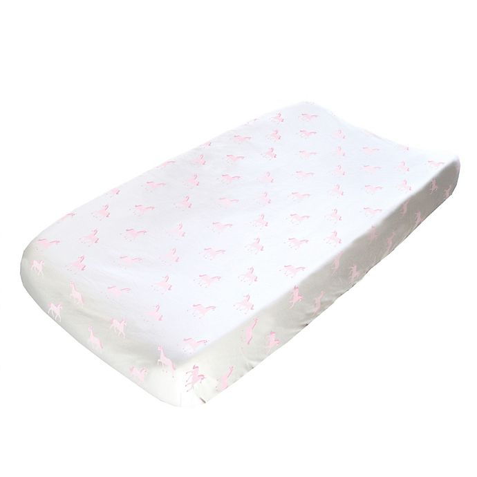Alternate image 1 for Hello Spud Unicorns Changing Pad Cover in Pink