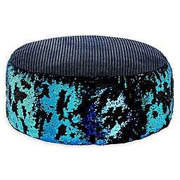 Soft Landing™ Sequin Pouf in Black/Blue
