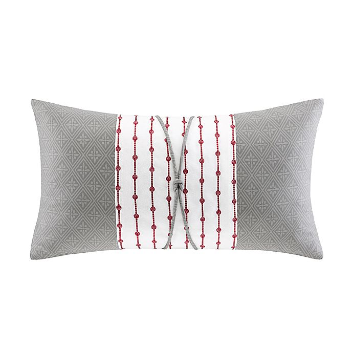 Alternate image 1 for N Natori® Cherry Blossom Oblong Throw Pillow in Grey