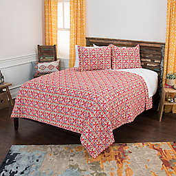 Rizzy Home Lilou Geometric Twin XL Quilt Set in Pink