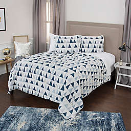Rizzy Home Flint Geometric Twin XL Quilt Set in Blue