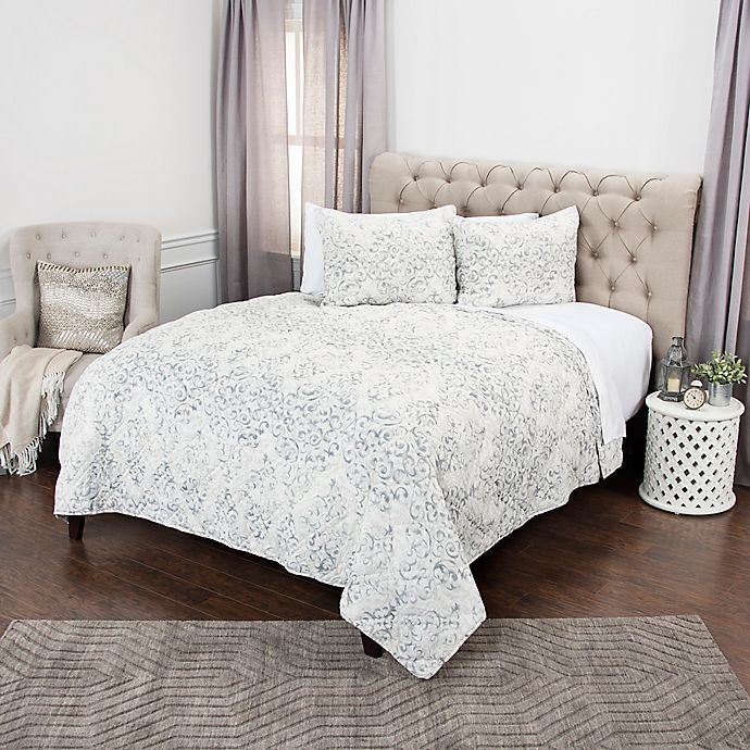 Alternate image 1 for Rizzy Home Astrid Geometric Queen Quilt Set in Grey