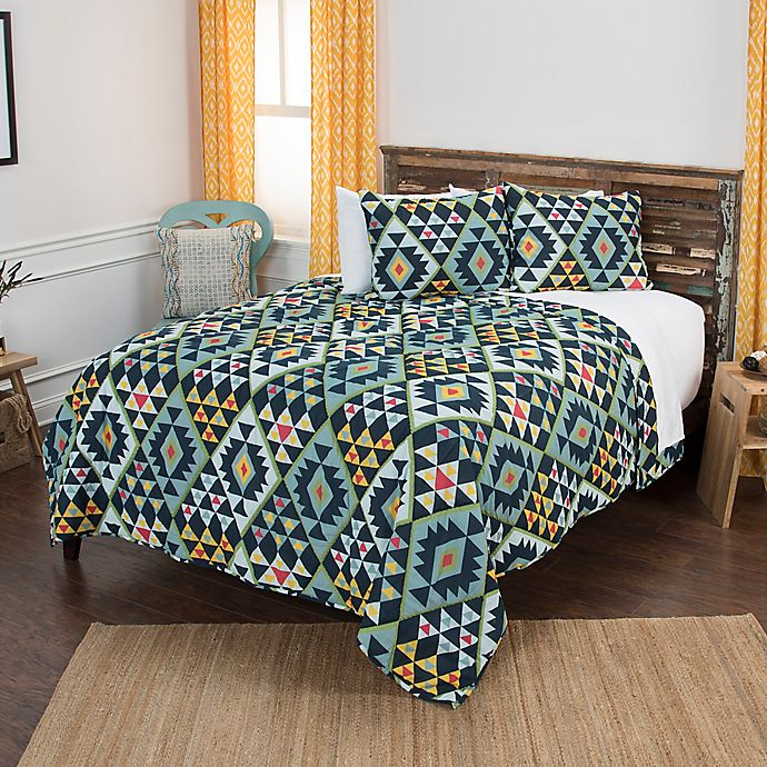 Alternate image 1 for Rizzy Home Miles Geometric King Quilt Set in Blue