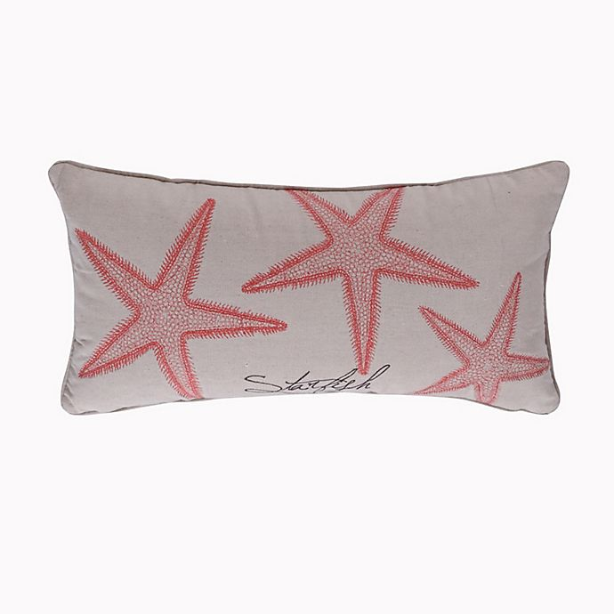 Alternate image 1 for Levtex Home Starfish Embroidered Oblong Throw Pillow in Coral