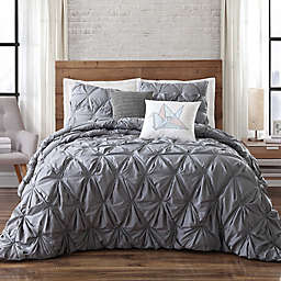 Brooklyn Loom Jackson Pleat Twin XL Comforter Set in Seaglass