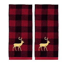 Plaid Reindeer Hand Towels (Set of 2)
