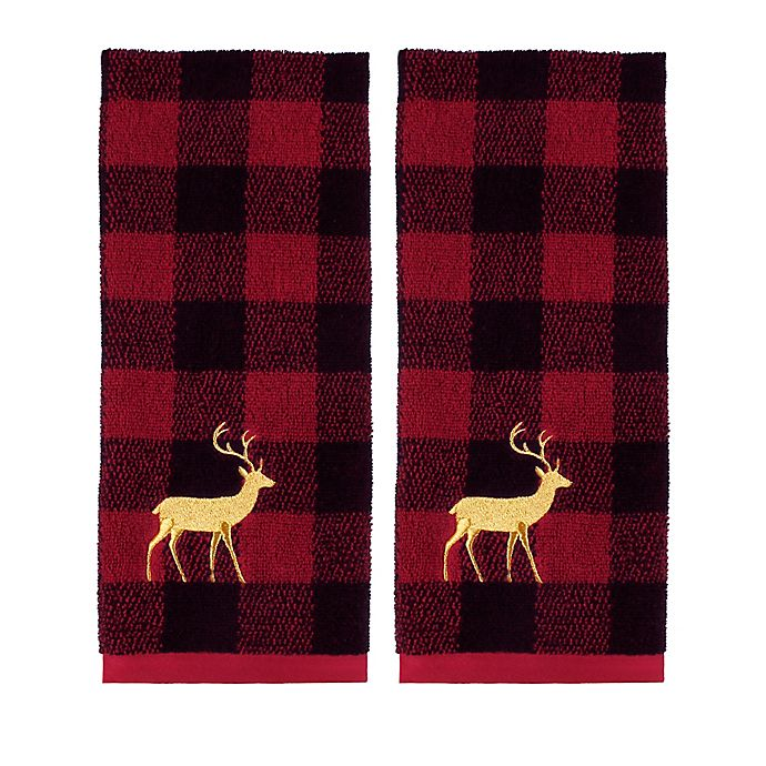 Alternate image 1 for Plaid Reindeer Hand Towels (Set of 2)