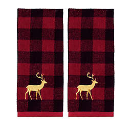 Plaid Reindeer Hand Towels (Set of 2)