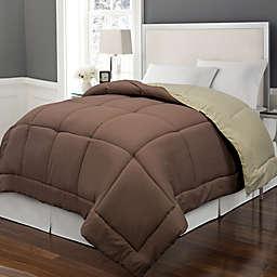 Microfiber Down Alternative Reversible Twin Comforter in Chocolate/Khaki