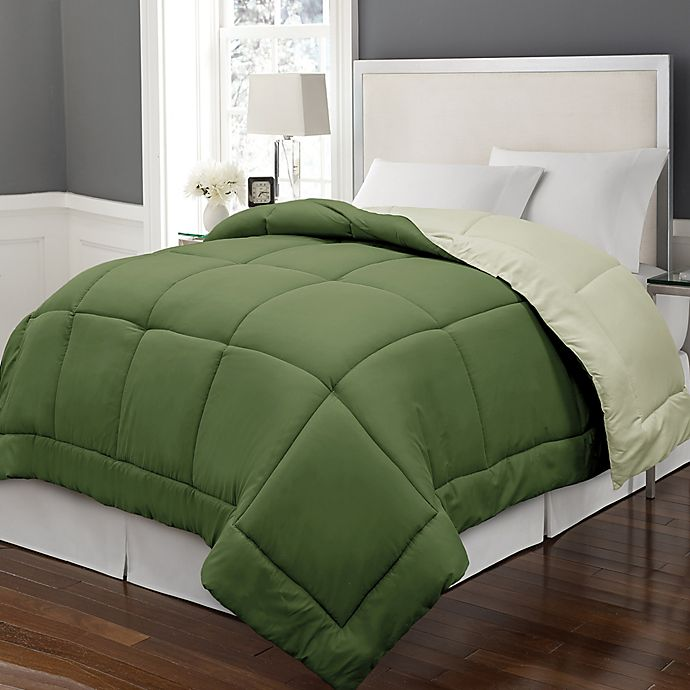 Alternate image 1 for Microfiber Down Alternative Reversible Full/Queen Comforter in Olive/Sage