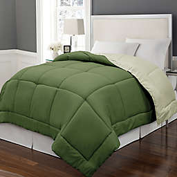 Microfiber Down Alternative Reversible King Comforter in Olive/Sage